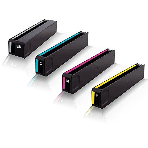 Print-Klex 4x kompatible Tintenpatronen für HP OfficeJet Pro X450 Series X451 dn X451 dw X470 Series X476 dn HP970 HP 970XL HP 970 XL HP 970K HP 971C HP 971M HP 971Y Black Cyan Magenta Yellow
