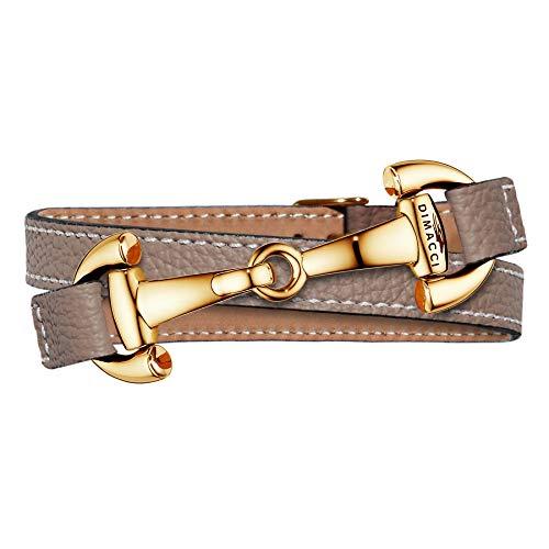 DIMACCI Trensen-Armband Kalbsleder | Alba-Kollektion in Taupe Gold-Optik aus Edelstahl | Schmuck für Reiter-Damen in Geschenk-Box (Taupe, Edelstahl vergoldet)