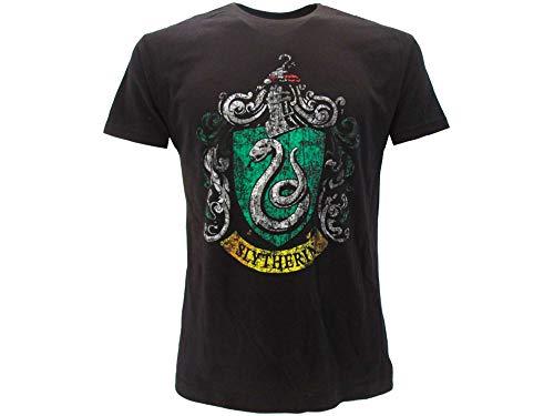 HARRY POTTER Warner Bros - Camiseta original con escudo de la casa serpeverde vintage, color negro, producto oficial 14