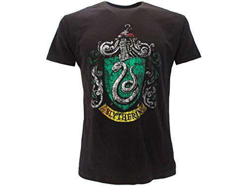 HARRY POTTER Warner Bros - Camiseta original con escudo de la casa serpeverde vintage, color negro, producto oficial Negro M
