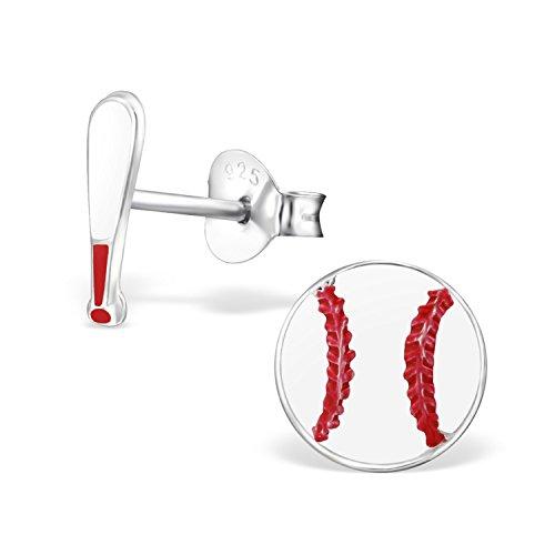 GH* KIDS Baseball mit Schläger Ohrstecker 925 Echt Silber Ohrringe Mädchen Kinder Geschenkidee Emaille Z556