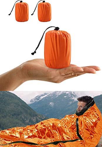 ACVCY Emergency Sleeping Bag, 2PCS LightweightEmergency Bivy Sack Survival Compact Survival Sleeping Bag WaterproofThermal Emergency Blanket Multi-use Survival Gear for Outdoor, Hiking, Camping