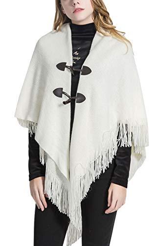 FEOYA Poncho para Mujer Chaqueta de Punto Encapuchado con Borlas Diseño Envolvente Botones Caliente Regalo Moda Dulce 87 * 80cm Blanco