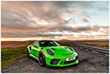 Porsche 911 GT3 RS UK Spec (2018) Car Art Poster Print on 10 Mil Archival Satin Paper Green Front Side Static View (18'x24')
