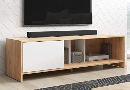 mobile tv 140 cm WFL GROUP Mobile TV Moderno - Color Legno - Style Scandinavo - 140 cm - Fino a TV da 55' Pollici - Rovere Wotan - Bianco