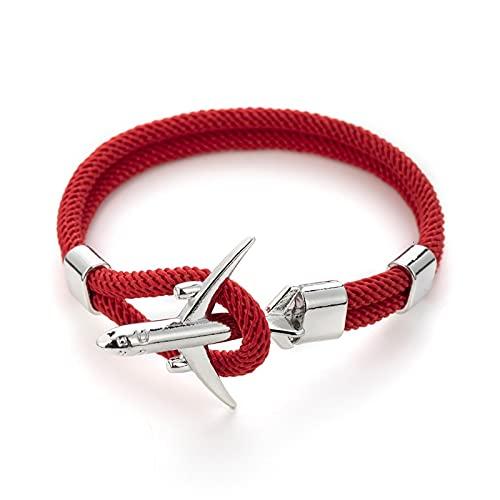 zhengyang Pulsera tejida para mujer, cadena de avión, ancla de avión, pulsera trenzada multicapa, pulsera tejida de regalo de joyería de moda para hombre (color metálico: rojo y plateado)