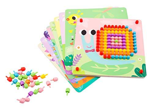 Tooky Toy kleines Mosaik-Steckspiel - buntes Kinder-Spielzeug Holzspielzeug...