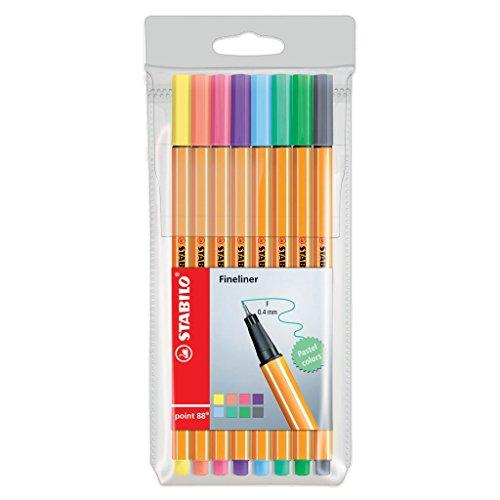 STABILO 88/8-01 Etui de 8 stylos feutres Point 88 pointe fine 0.4 mm Pastel Collection
