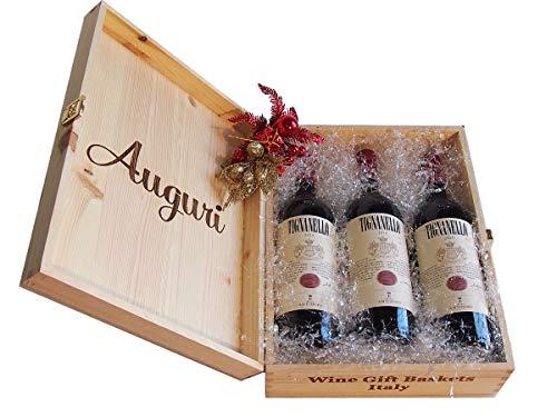 """Wein-Geschenke für Weihnachten """"Holzkiste Geschenk Weihnachten Auguri Tignanello Antinori Weine"""" Wein Probierpaket Italien – Code 227"""