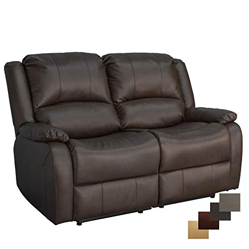 """RecPro Charles Collection   58"""" Double Recliner RV Sofa   RV Zero Wall Loveseat   Wall Hugger Recliner   RV Theater Seating   RV Furniture   RV Sofa Bed   RV Couch   Chestnut"""