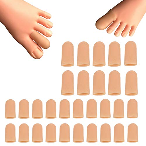 30 Pieces Gel Toe Caps, Silicone Toe Protector Toe Covers, Protect Toe from Rubbing, Ingrown Toenails, Corns, Blisters, Hammer Toes and Other Painful Toe Problems
