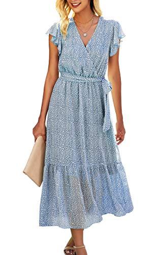 Spec4Y Maxikleid Damen Blumen Lang Kleider Kurzarm V-Ausschnitt Wickelkleid Rüschen Sommerkleider mit Gürtel 2121 Hellblau Large