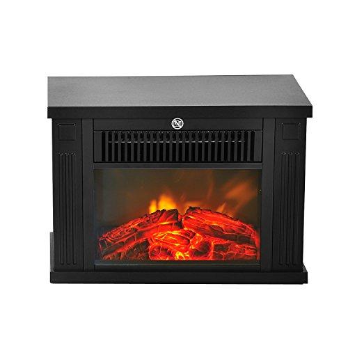 HOMCOM Chimenea Eléctrica Portátil Mini Estufa Calefactor Termostato Ajustable 600/1200W Llama Decorativa 34x17x25cm