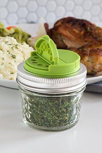 Jarware Spice Lid for Regular Mouth Mason Jars, Green