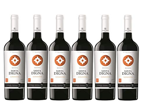 Miguel Torres Chile Santa Digna Carmenère, Vino Tinto - 6 botellas de 75 cl, Total: 4500 ml