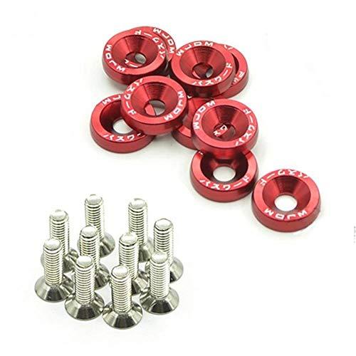 10 unidades M6 x 20 pernos de acero para modificar el guardabarros universal placa de matrícula con 10 arandelas anodizadas #734, rojo