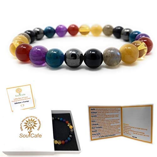 Addiction and Cravings Power Bead Bracelet - Healing Crystal Gemstones - Soul Cafe Gift Box & Tag