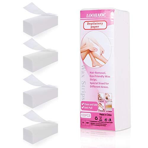 LOOHAOC Vliesstreifen 400 stk für Warmwachs und Zuckerpaste ,Profiqualität Vlies Wachsstreifen Gesichts für jede Art von Depilation auf Bein, Brust, Rücken, Intimbereich & Gesicht-2021