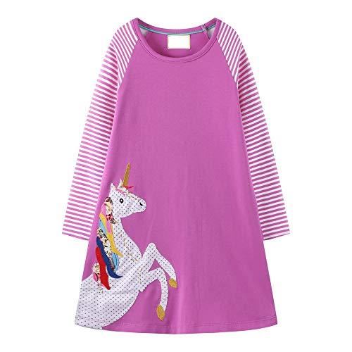 VIKITA Mädchen Streifen Baumwolle Langarm T-Shirt Freizeit Kleid JM7770 7-8 Jahre