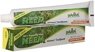 Madina 100% Vegetable Base Neem Advance Toothpaste 6.42oz with Mint Pack of 12