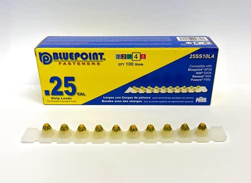 BLUEPOINT .25 Caliber YELLOW Strip Powder Loads. (100 - Count). Item# 25SS10L4