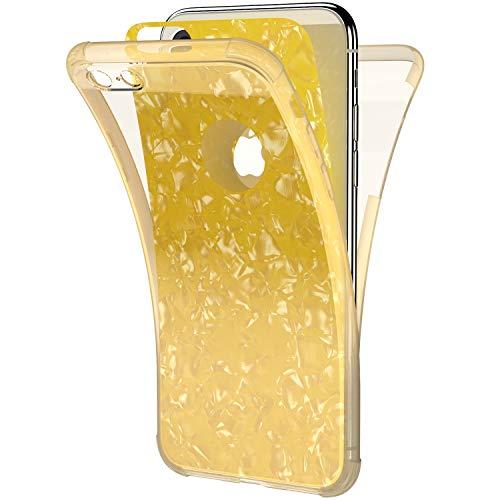 Ysimee Coque Compatible pour iPhone 6/6S 360 Degrés Étui en Transparente Silicone Double Face Couverture Protection Complète Avant et Arrière Antichoc Bumper Ultra Slim Housse Motif Coquillage,Or