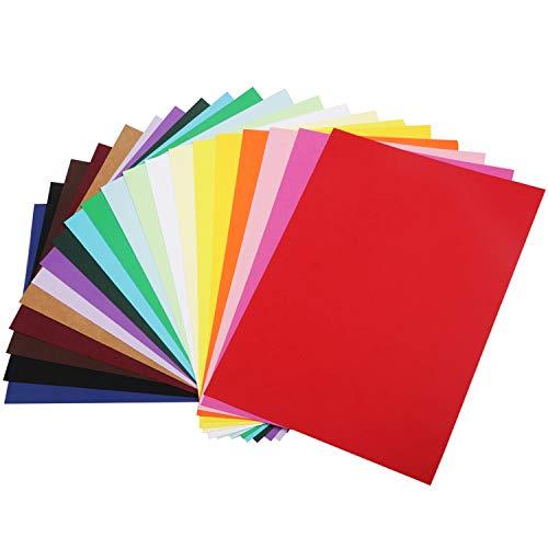 HUASUN Cartulina de Colores Papel para Papiroflexia A4 250gsm Papel de Colores Papel para Manualidades DIY Decoración, Boceto, Papel de Corte, 20 hojas 20 colores