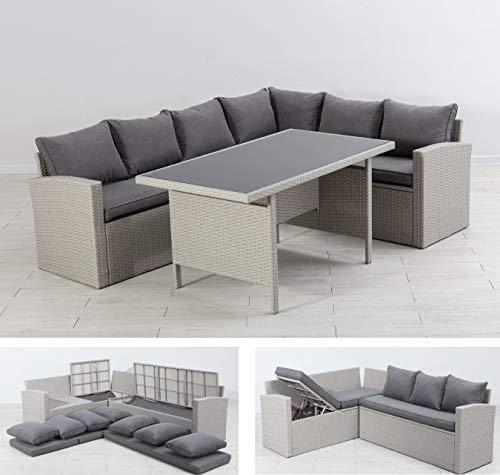 Mandalika Garden Hohe Dining Lounge Storage Milos, Liegefunktion und integrierte Auflagenbox