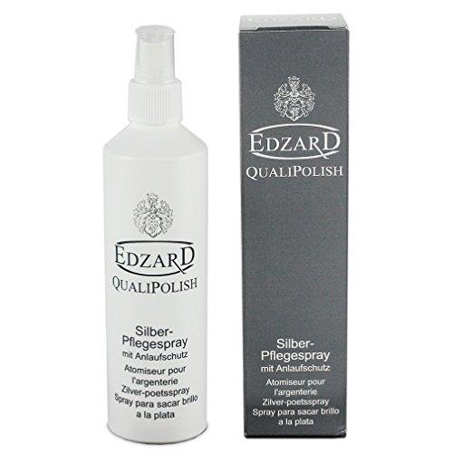 EDZARD QualiPolish® Silber-Pflegespray mit Anlaufschutz, Putzmittel für Besteck und Silberschmuck, Metallreiniger, Inhalt 250 ml