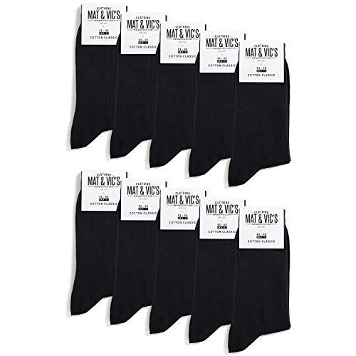 Mat and Vic's Cotton Classic Socken, 10 Paar, größe 43/46, Schwarz
