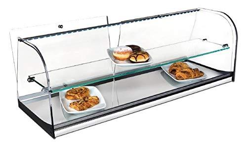 Vitrina expositora alimentos, ideal barra bar para los aperitivos, 2 pisos, cristal curvo y ilumibación LED
