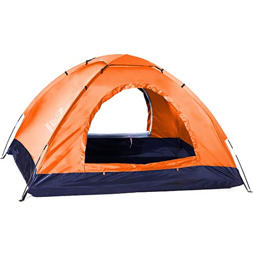 4-Person Tent,Two-Person Camping Tent Suitable for Outdoor Play,Two Doors and Windows,Breathable Mesh,Windproof and Waterproof Camping Tent,Easy to Install,with Storage Bag(4-Person,Orange)