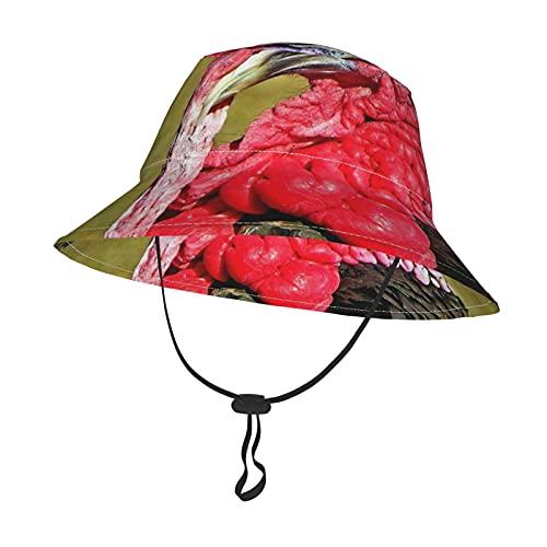 GAHAHA Sombrero de sol para bebés y niñas, pavo rojo, para niños, con correa ajustable para la barbilla, gorra de protección solar para el verano, al aire libre, picnic, pescador, Negro, Small