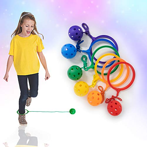 Skip Jump Rope - Pack of 6 - Variety Colors - Best Swing Ball Set Game for Boys Girls and Kids. Fun Excercise, Coordinate, Balance, Fitness, Active and Smile. Play Indoor and Outdoor (6 SwingBalls)