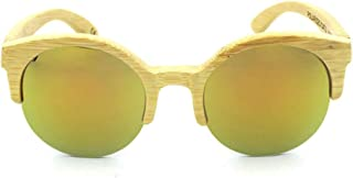 LUKEEXIN Women's Round Half Frame Bamboo Glasses, Fashion Polarized Sunglasses (Color : Gold)