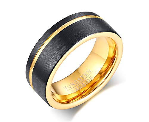 8mm de carburo de tungsteno de la vnox Anillo de los hombres anillo de promesa chapado en oro de color negro y tamaño 8–12