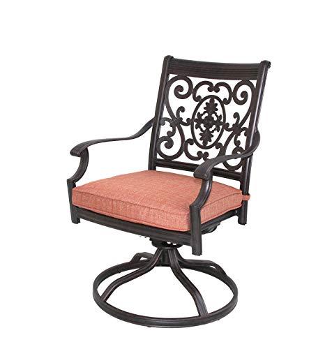 Darlee St. Cruz Cast Aluminum Swivel Rocker Chairs with Cushions, Set of 4, Antique Bronze