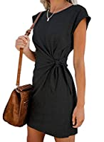 Beeatree Womens Round Neck Lace Up Solid-Colored Short Sleeve Relaxed Fit Dresses Blue S