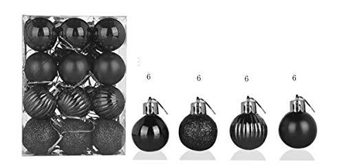 24 pcs Christmas Balls Ornaments , for Xmas Christmas Tree Ball Christmas Tree Ornaments Hanging Ball for Holiday Wedding Christmas Party Decoration Home Decor(Black )