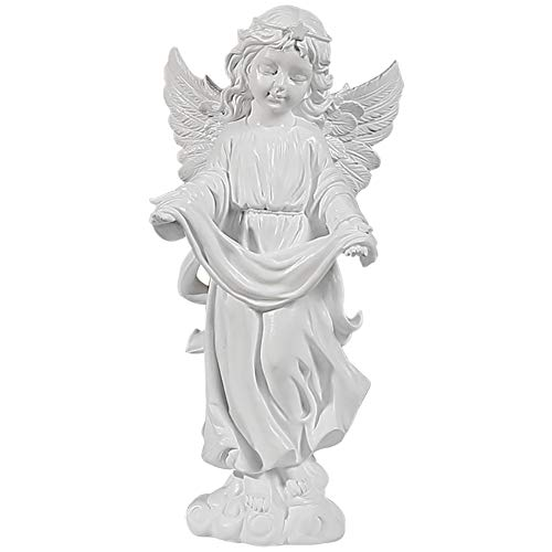 Angel Figurine, Memorial Angel Statues And Figurines, Angel Statue Holding White Ribbon in Hand, Can Be Placed on The Desk/Book Shelf/Table