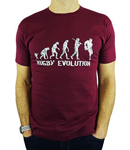 My Generation Gifts Rugby Evolution - Rugby Divertido del Regalo de cumpleaños/Presente para Hombre de la Camiseta Borgoña XL