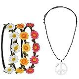 Pretop 3 Daisy Blumen Stirnband + 1 Kette Peace-Zeichen aus Metall, Ø 5cm, Blumenkranz | Blumenkranz | Haarband | Blumenkrone | Blumen |...