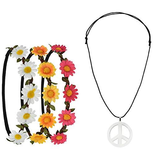 Pretop 3 Daisy Blumen Stirnband + 1 Kette Peace-Zeichen aus Metall, Ø 5cm, Blumenkranz   Blumenkranz   Haarband   Blumenkrone   Blumen   Kranz   Haarschmuck, für...