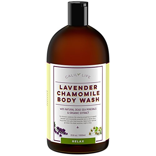 Calily Life Organic Aromatherapy Stress Relief Lavender + Chamomile Body Wash with Dead Sea Minerals and Aloe Vera, 33.8 Oz. – Deep Cleansing + Relaxing, De-stressing and Soothing