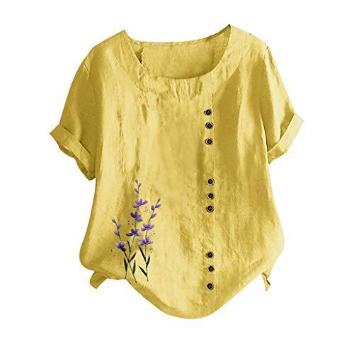 YBWZH Damen Bluse Lose Tops Klassisches Vintage T-Shirt Chinesisch Shirts Tunika Einfarbig Blusen Knöpfe O-Ausschnitt Kurzarm Blumendruck Baumwolle Leinen Vintage Top