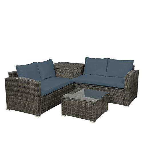 KYEEY 4 PCS Outdoor Cushioned PE Rattan Wicker Sectional Sofa Set Garden Patio Furniture Set, Rattan Chair Wicker Conversation Sofa Set