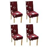 YoungYuan Fundas de sillas Comedor Cubre sillas Comedor Silla de Comedor de Cojines Fundas para sillas de Comedor Comedor Cubierta de la Silla Set of 4,Red