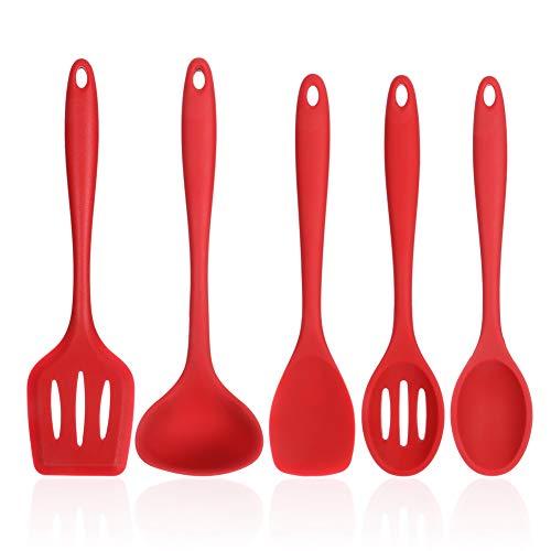 Yumi V 5Juegos Utensilios de Cocina de Silicona Resistentes al Calor, Herramientas Antiadherentes para Hornear en la Cocina, Fáciles de Limpiar(Rojo)