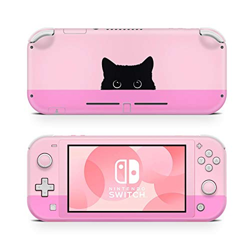 46 North Design Switch Lite Skin Vinyl Stickers, Dulce Lindo Gatito Negro Gato Rosa Claro Rosa Oscuro Felino Ombre Anime Kawaii Neko, Alta calidad, Durable, Sin burbujas, Made in Canada