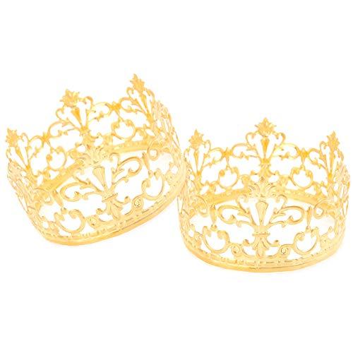 AIM Cloudbed 2 piezas adorno de pastel de corona, corona de cumpleaños topper para decoración de tartas de boda, decoración de fiesta de cumpleaños para rey/princesa
